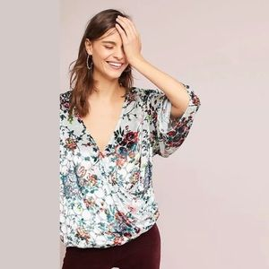Anthropologie Maeve Kimono Style Silk Velvet Top